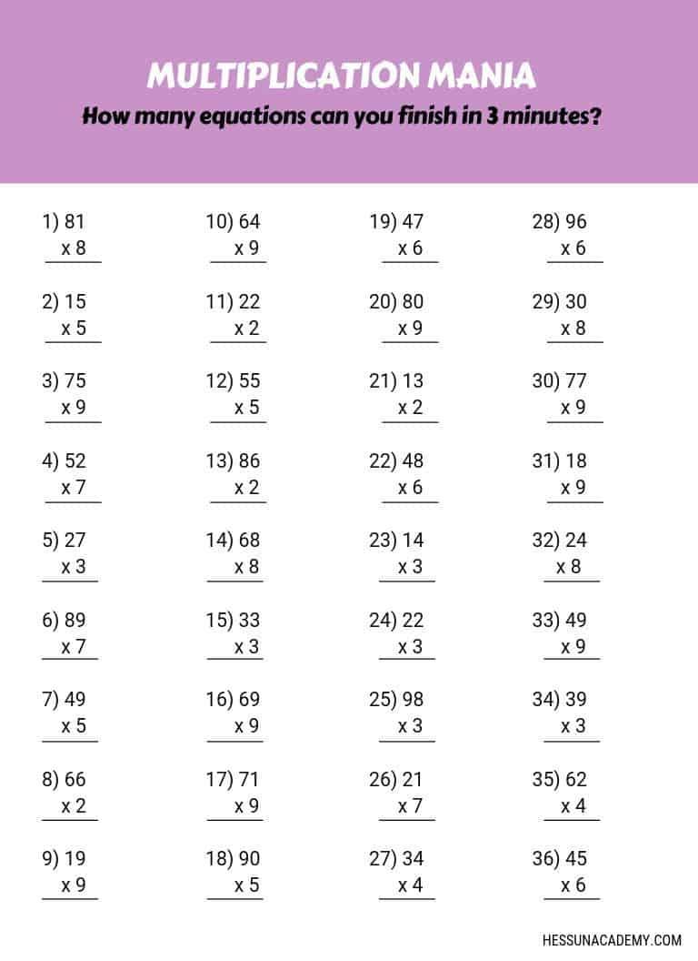 Multiplication-Practice-Worksheets | Hess Un-Academy