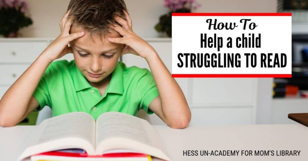 young boy struggling to read