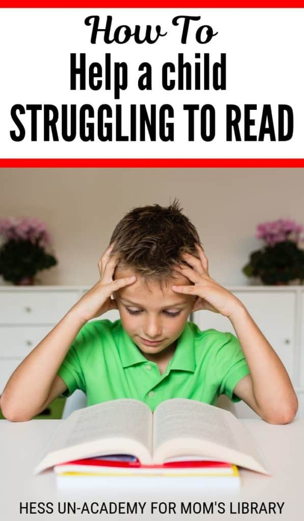young boy struggling with reading