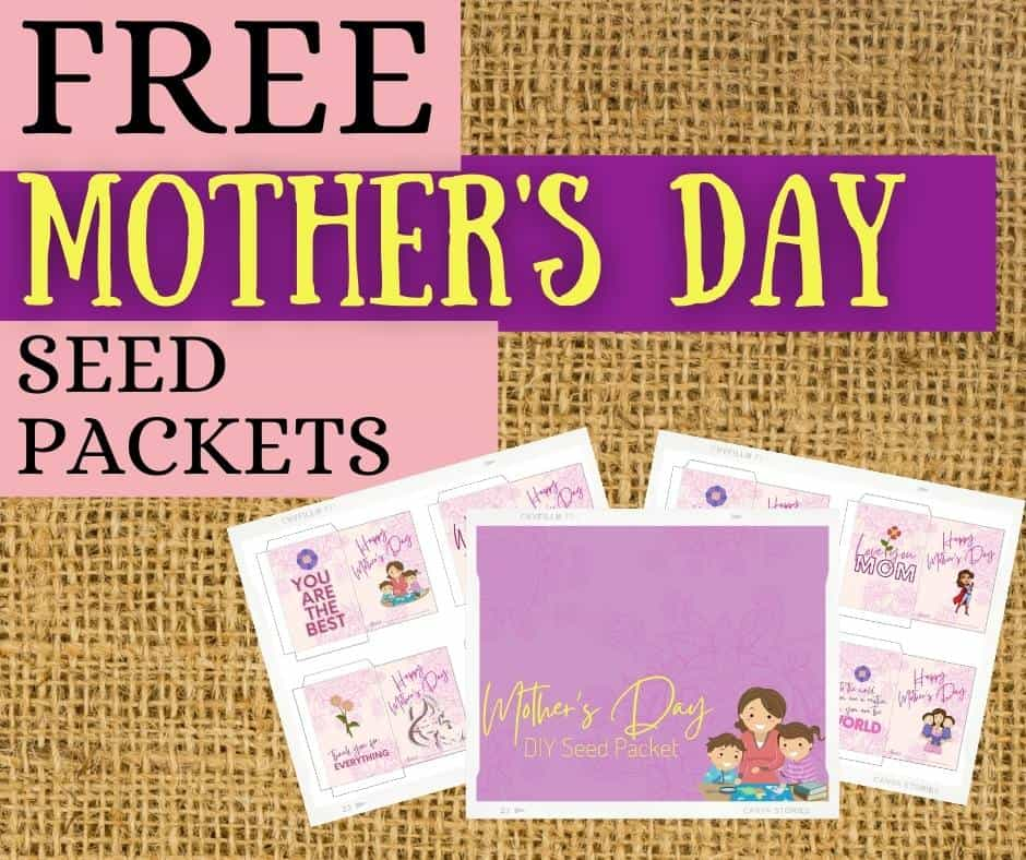 preview of free mother's day seed packets for folding on packet of seeds